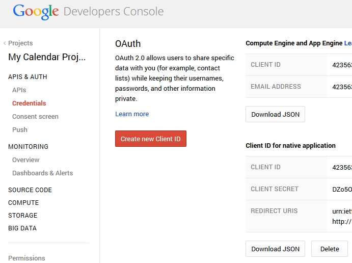 Screenshot Google API Einstellungen